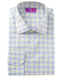 Lorenzo Uomo Long Sleeve Trim Fit Plaid Dress Shirt