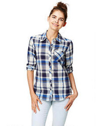 White and Blue Plaid Dress Shirts for Women | Women's Fashion