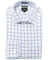 Neiman Marcus Regular Finish Trim Fit Plaid Dress Shirt Bluewhite