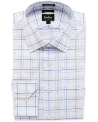 Neiman Marcus Trim Fit Plaid Dobby Dress Shirt Bluewhite