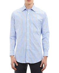 Windowpane Plaid Dress Shirt Blue