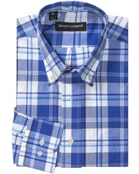 White and Blue Plaid Long Sleeve Shirt