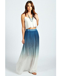 Boohoo Philippa Dip Dye Pleated Maxi Skirt