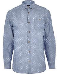 White and Blue Polka Dot Chambray Long Sleeve Shirt