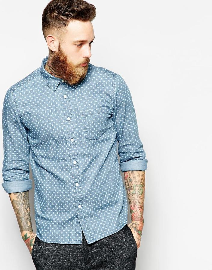 Asos Brand Denim Shirt In Long Sleeve With Polka Dots | Where to ...