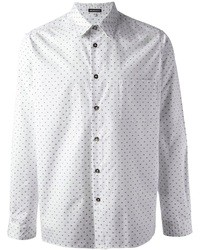 White and Blue Polka Dot Long Sleeve Shirt