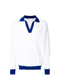 White and Blue Polo Neck Sweater