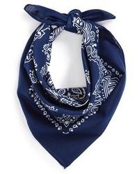 White and Blue Print Bandana
