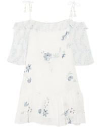 See by Chloe See By Chlo Off The Shoulder Printed Fil Coup Mini Dress Off White