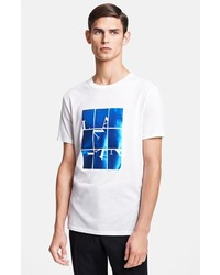 White and Blue Print Crew-neck T-shirt