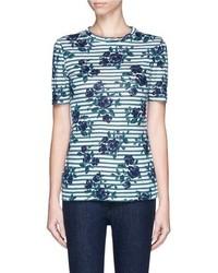 Nobrand Kara Floral Stripe Linen T Shirt