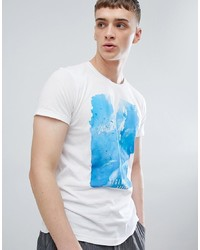 Solid T Shirt In Scenic Print In White