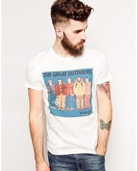 Wrangler T Shirt Slim Fit The Great Outdoors Print Off White