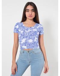 American Apparel Floral Print Cotton Spandex Jersey Crop Tee
