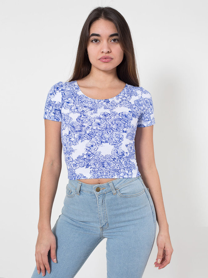 0704cb38c7 ... Blue Print Cropped Tops American Apparel Floral Print Cotton Spandex  Jersey Crop Tee ...