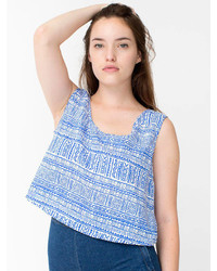 American Apparel Print Rayon Loose Crop Top