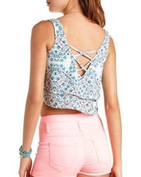 Charlotte russe printed strappy back swing crop top medium 76845