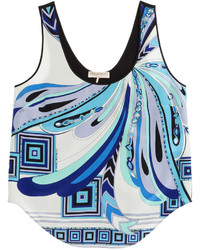 Emilio Pucci Printed Silk Cropped Top