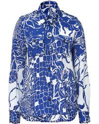 Emilio Pucci Bluewhite Printed Silk Shirt