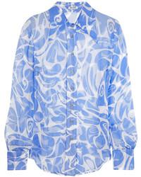 Miu Miu Printed Crinkled Silk Chiffon Shirt