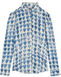 Printed silk shirt medium 197778