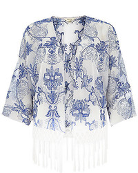 River Island White China Print Fringed Kimono