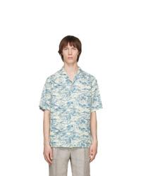 Z Zegna Off White And Blue Linen Oasi Zegna Shirt