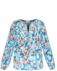 White and Blue Print Long Sleeve Blouse