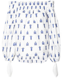 Printed off shoulder blouse medium 3830095