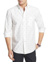 White and Blue Print Long Sleeve Shirt