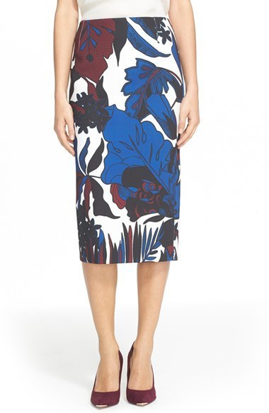 373e781f0 ... White and Blue Print Pencil Skirts Ted Baker London Darle Botanical  Print Skirt ...