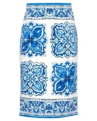 Dolce & Gabbana Majolica Print Stretch Silk Pencil Skirt
