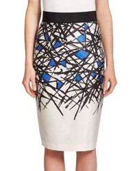 Milly Printed Pencil Skirt