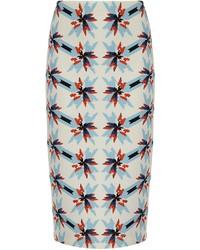Tanya Taylor Blue Pinwheel Scuba Bundy Skirt