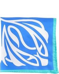 Barneys New York Abstract Print Twill Pocket Square Blue