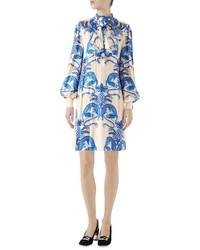 Gucci Dragon Print Twill Ruffle Neck Dress