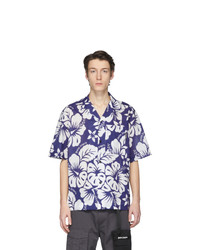 Palm Angels Blue And White Hawaiian Bowling Shirt