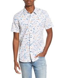John Varvatos Star USA Doug Spatter Print Short Sleeve Button Up Shirt