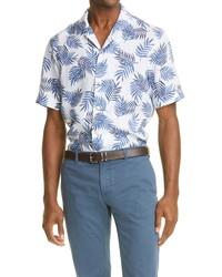 Eleventy Palm Leaf Short Sleeve Linen Button Up Shirt