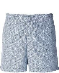 White and Blue Print Shorts