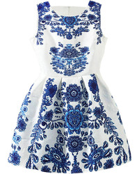 Sleeveless blue and white porcelain print flare dress medium 309013