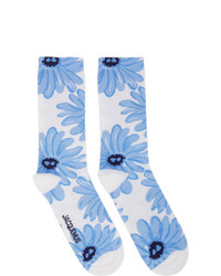 White and Blue Print Socks