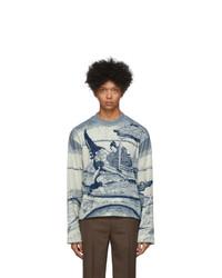 Kenzo Blue And White Jacquard Sweatshirt
