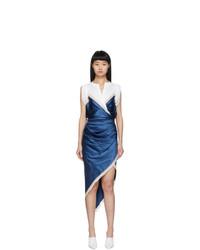 Alexander Wang White And Blue Silk Draped Slip Dress