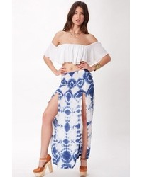 White and Blue Slit Maxi Skirts for Women | Women's Fashion