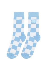 Opening Ceremony White And Blue Check Box Logo Socks