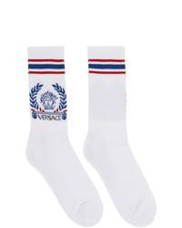 Versace White And Blue Medusa Laurel Socks