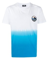 White and Blue Tie-Dye Crew-neck T-shirt