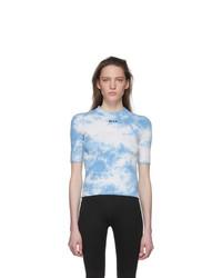 MSGM Blue And White Tie Dye T Shirt