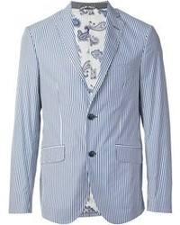 White and Blue Vertical Striped Blazer